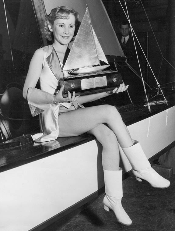 Sylvia Wright holding a trophy
