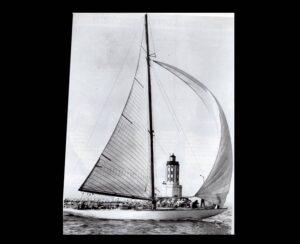 1936 Midwinter Regatta off LA Harbor. The crew of The Solhoquy unfurling her spinnaker
