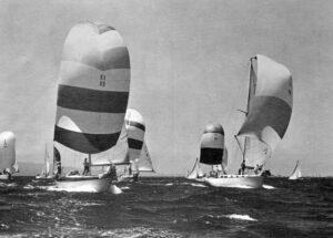 sailboats with chutes racing toward photographer, Cal 40s