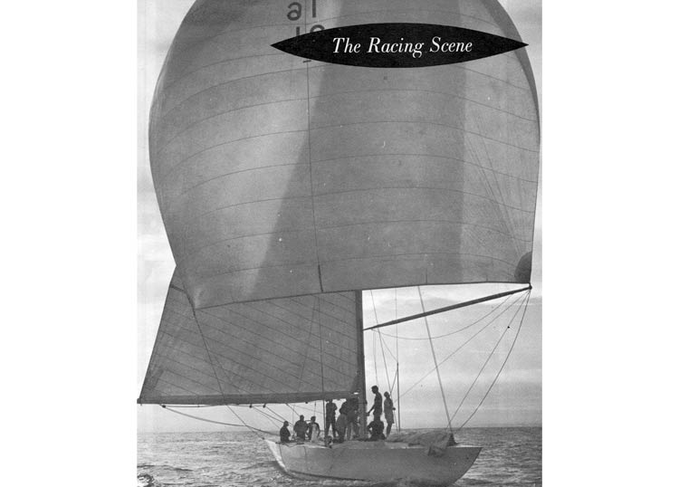 a sailboat with The Racing Scene on it