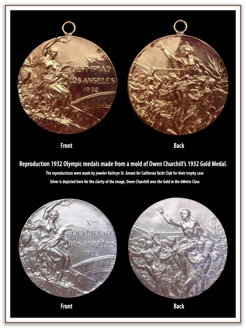 1932 Olympic gold and silver medals, front and back, reproduction