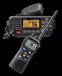 2 VHF radios, 1 handheld one mounted