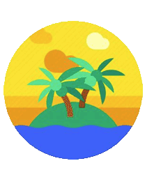 graphic depiction of a small island with palm trees