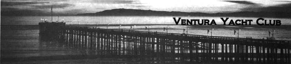 Ventura Pier at sunset with Ventura Yacht Club written on it