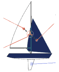 small sailboat graphic for sail trim
